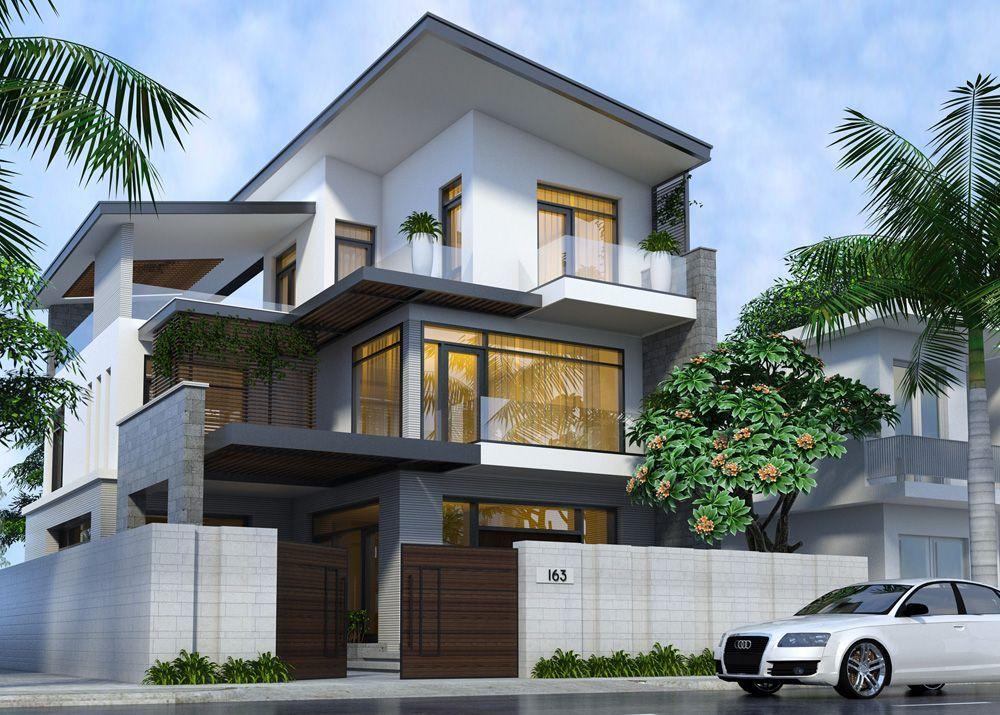 Mặt tiền thiết kế nhà phố 3 tầng 10x12m nổi bật với tông màu trắng đen cơ bản mà sang trọng