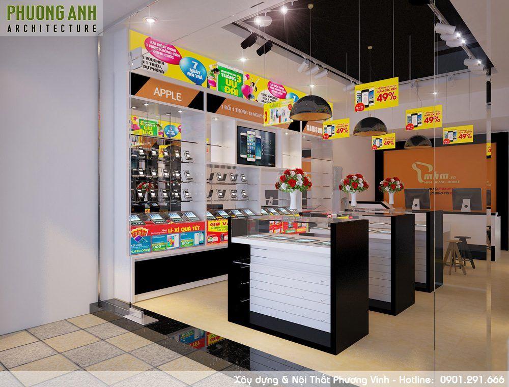 Phối cảnh shop điện thoại đẹp, sang trọng được khách hàng ưa thích