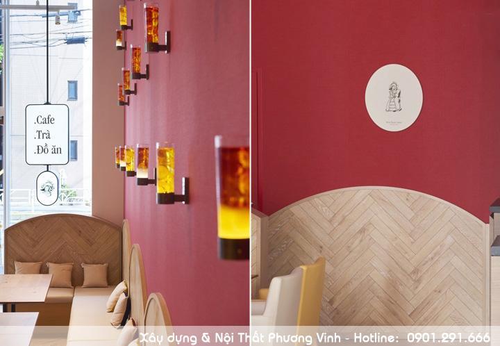 Sử dụng hệ thống đèn đặc biệt để trang trí tường quán cafe