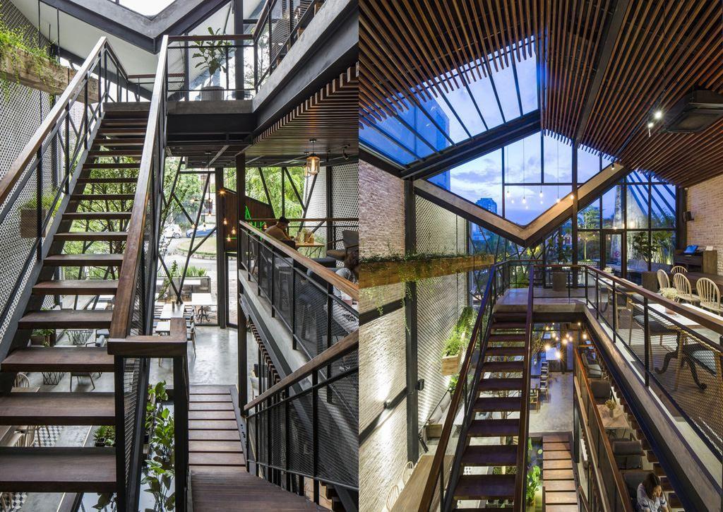 Thiết kế cầu thang quán cafe sân vườn đẹp