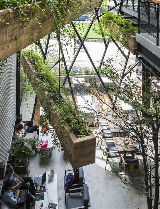 Trang trí quán cafe nhiều cây xanh