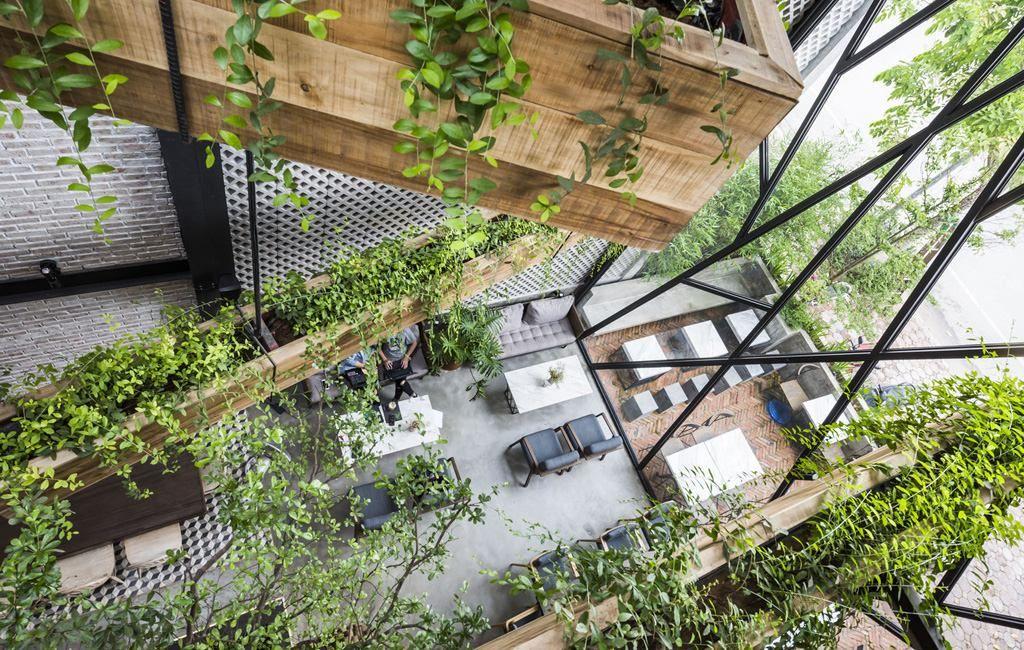 Trang trí quán cafe hòa hợp thiên nhiên nhiều cây xanh