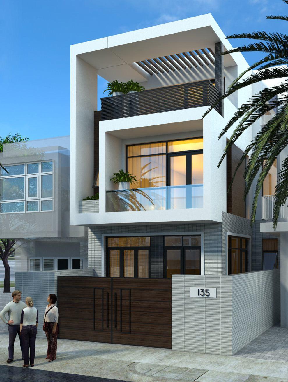 Thiết kế kiến trúc nhà 3 tầng Hải Phòng đẹp hiện đại