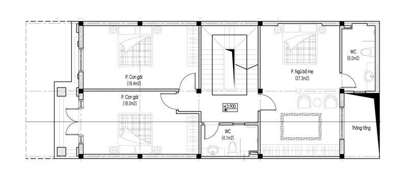 Mặt bằng tầng 2 biệt thự tân cổ điển 3 tầng