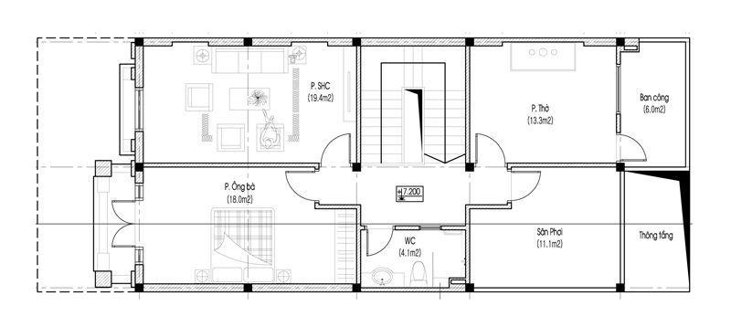 Mặt bằng tầng 3 biệt thự tân cổ điển 3 tầng