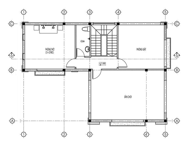 Mặt bằng tầng 3 biệt thự tân cổ điển