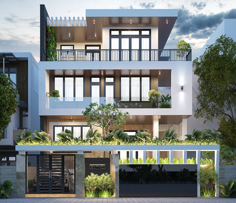 Mẫu nhà mặt tiền 10m xây 3 tầng đẹp