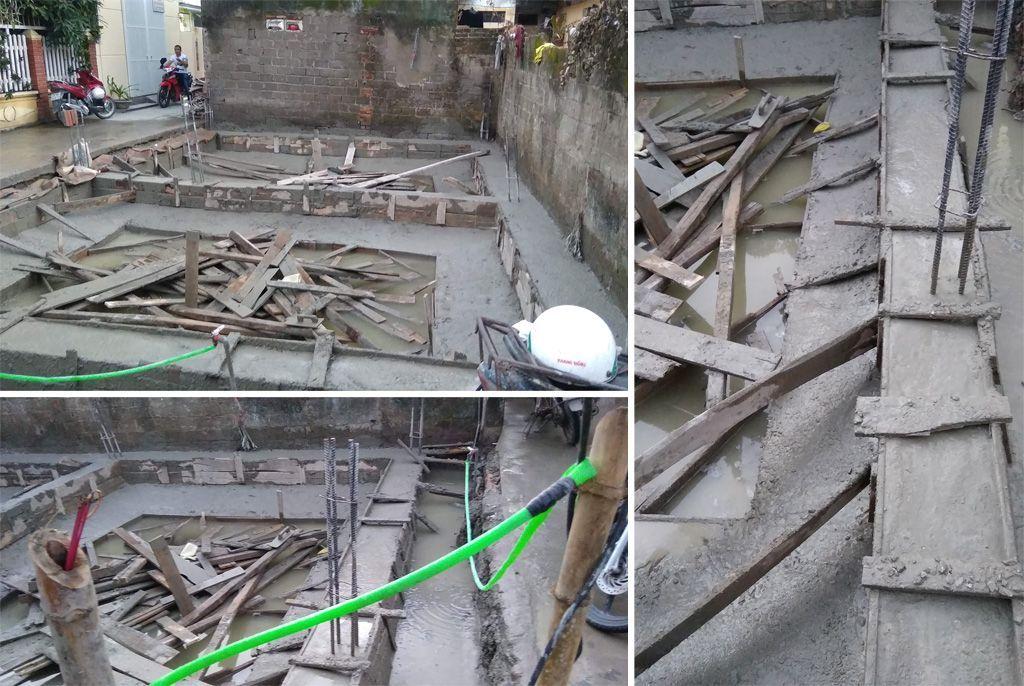 Đổ bê tông móng nhà cho công trình xây trọn gói 4 tầng tại Văn Cao - Hải Phòng