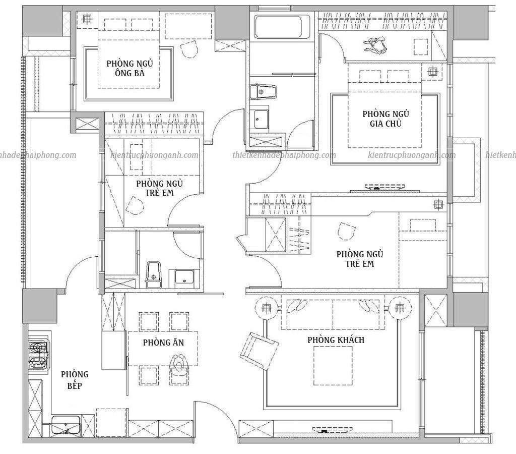 Bản vẽ mặt bằng căn hộ chung cư sau khi được kiến trúc sư thiết kế