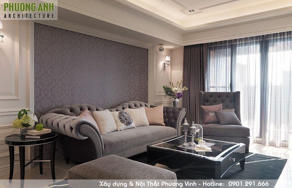 Thiết kế thi công nội thất phòng khách sang trọng