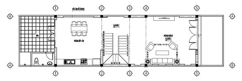 Bản vẽ mặt bằng tầng 1 nhà 3 tầng
