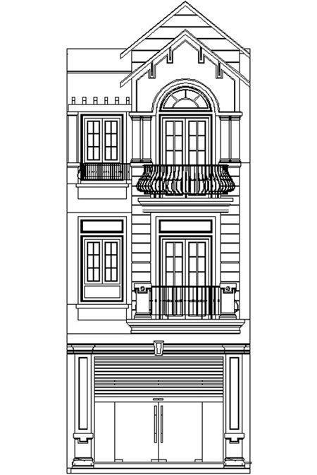 Bản vẽ mặt cắt nhà 3 tầng tân cổ điển