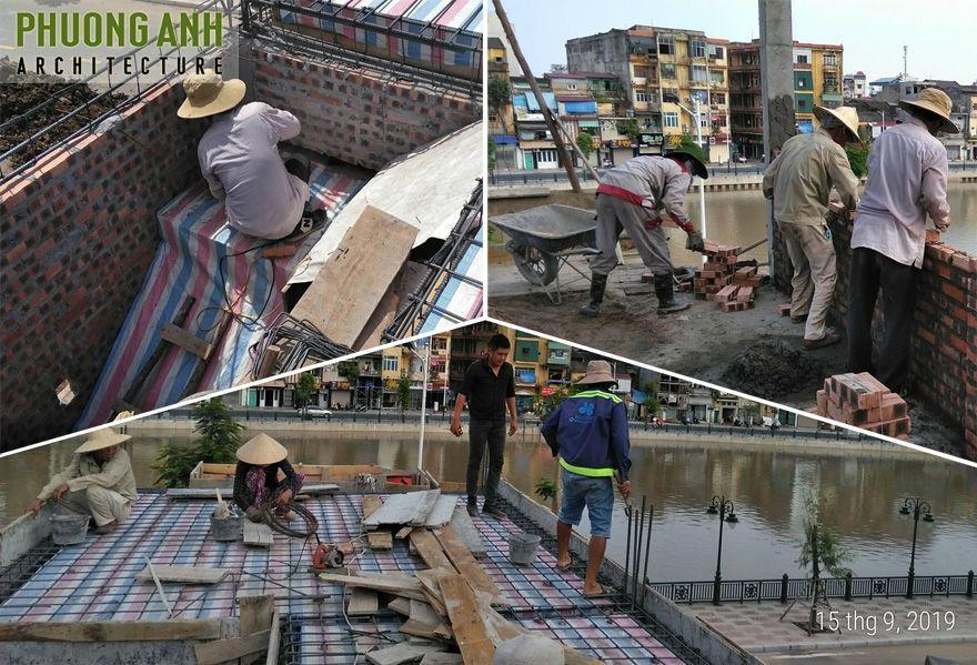 Đổ mái tầng 1 và xây tầng 2 do công ty Xây dựng & Nội thất Phương Vinh thi công