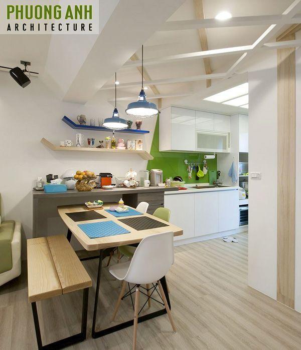 Bố trí phòng ăn đơn giản cho căn hộ chung cư nhỏ 60m2