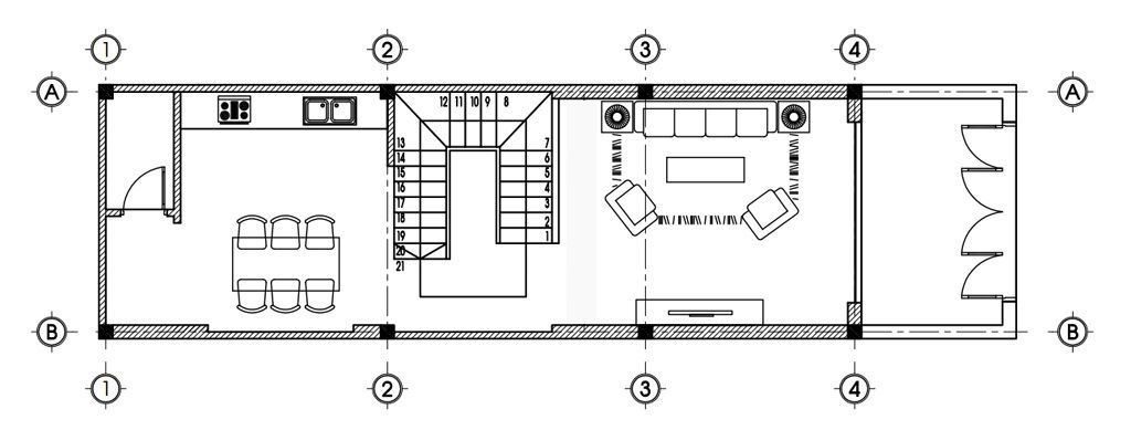 Mặt bằng tầng 1 mẫu thiết kế nhà ống 4 tầng mặt tiền 4m