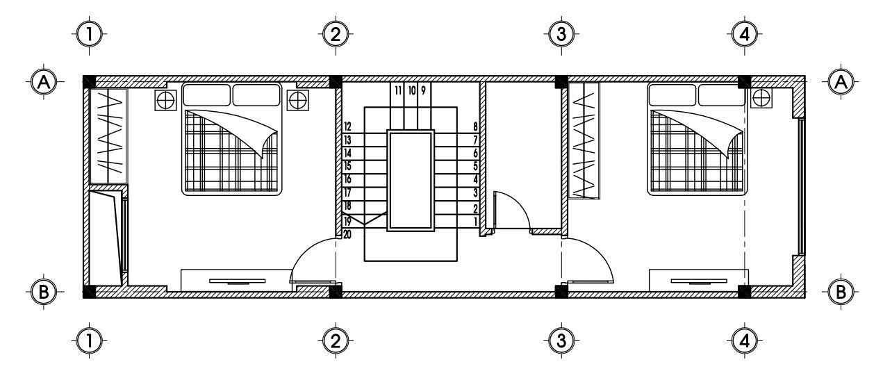 Mặt bằng tầng 2 mẫu thiết kế nhà ống 4 tầng mặt tiền 4m