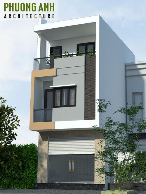 Mặt tiền nhà phố 5m 3 tầng đơn giản mà đẹp - Có bản vẽ mặt bằng