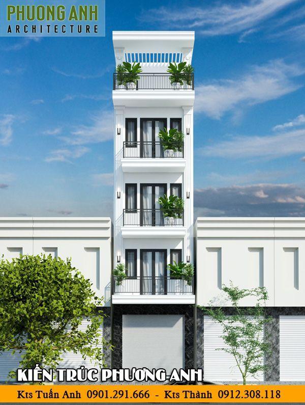 Thiết kế nhà 5 tầng mặt tiền 4m phong cách tân cổ điển đẹp