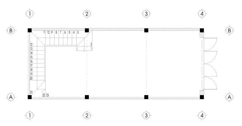 Bản vẽ mặt bằng tầng 1 thiết kế nhà 5 tầng mặt tiền 4m