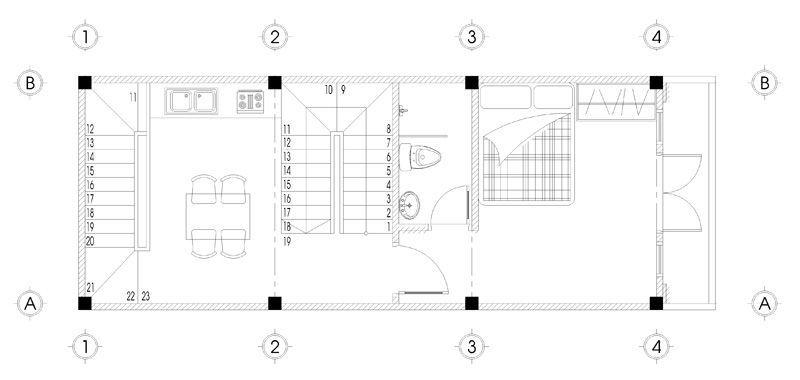 Bản vẽ mặt bằng tầng 2 thiết kế nhà ống 5 tầng mặt tiền 4m