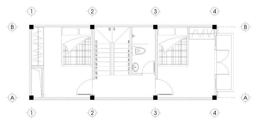 Bản vẽ mặt bằng tầng 3 thiết kế nhà phố 5 tầng mặt tiền 4m