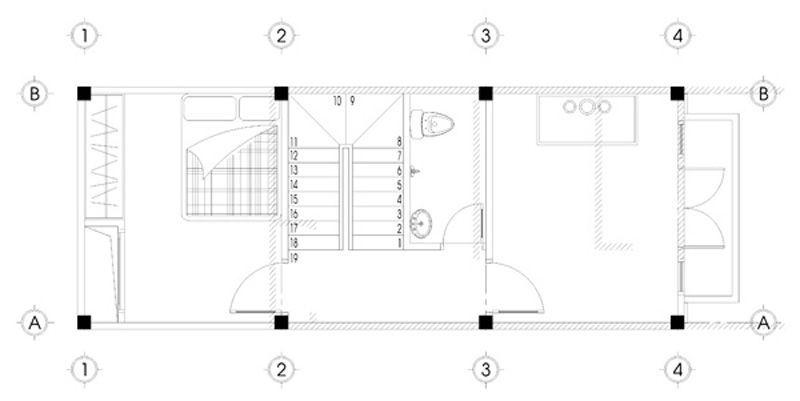 Bản vẽ mặt bằng tầng 4 thiết kế nhà phố 5 tầng mặt tiền 4m