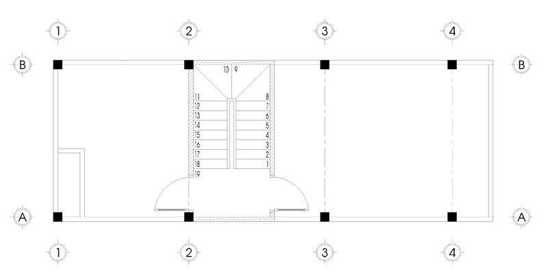 Bản vẽ mặt bằng tầng 5 thiết kế nhà phố 5 tầng mặt tiền 4m