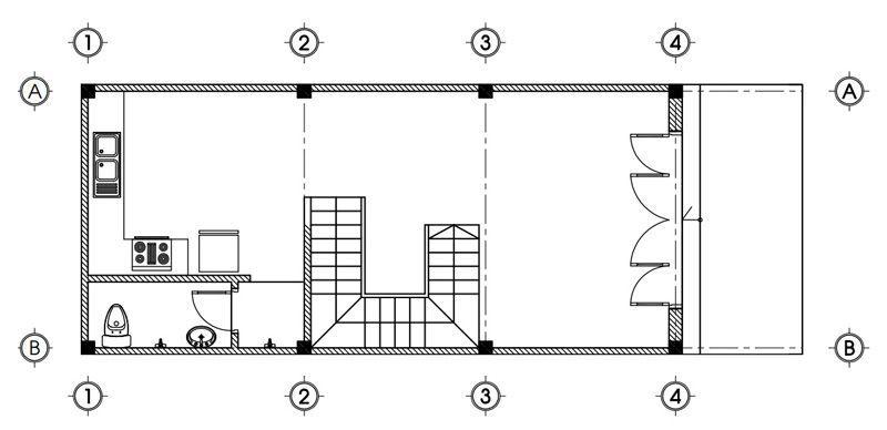 Mặt bằng tầng 1 nhà 3 tầng 5x13