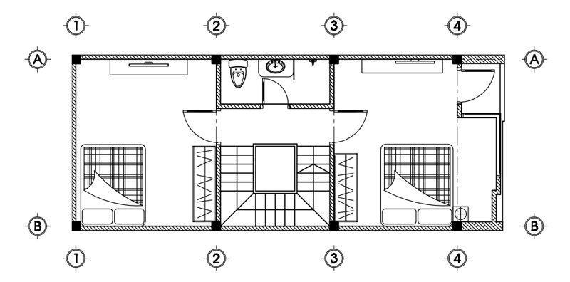 Mặt bằng tầng 2 nhà 3 tầng 5x13