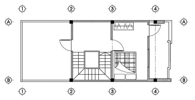 Mặt bằng tầng 3 nhà 3 tầng 5x13