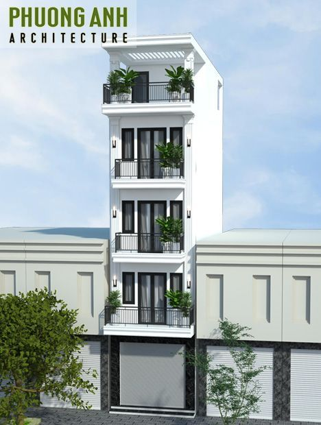 Mẫu nhà 5 tầng đẹp phong cách tân cổ điển kết hợp kinh doanh