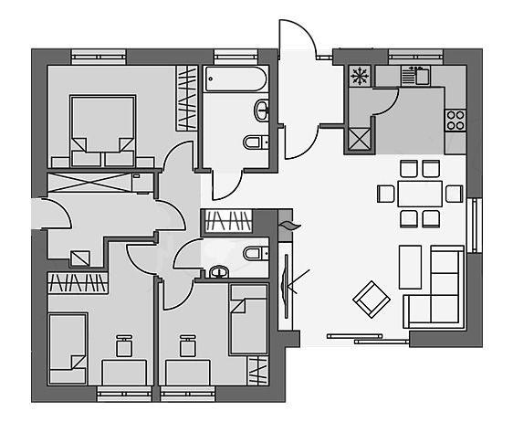 Bản vẽ CAD nhà cấp 4 3 phòng ngủ 9x10