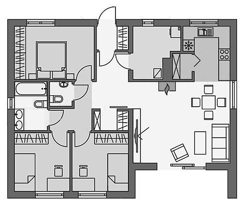 Bản vẽ nhà cấp 4 3 phòng ngủ 1 phòng thờ 9x10
