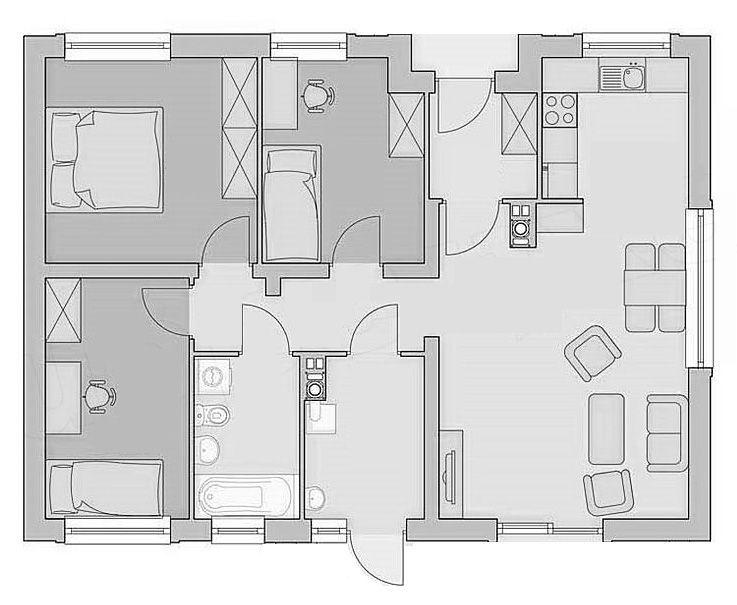 Bản vẽ nhà cấp 4 3 phòng ngủ 8.5x10