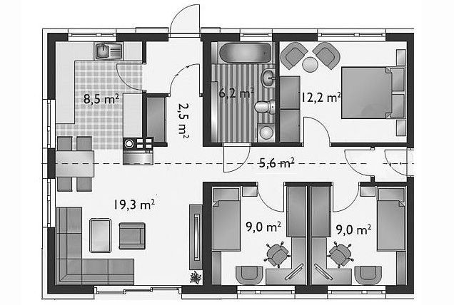 12 Bản vẽ nhà cấp 4 3 phòng ngủ bố trí khoa học nhất