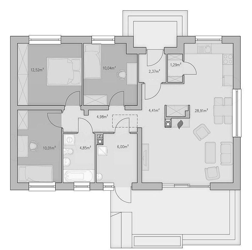 Bản vẽ nhà mái thái 3 phòng ngủ 8x11