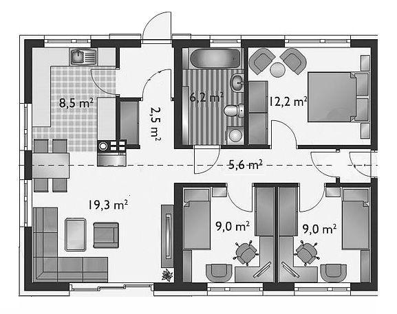 Bản vẽ thiết kế nhà cấp 4 đẹp 3 phòng ngủ 8x10