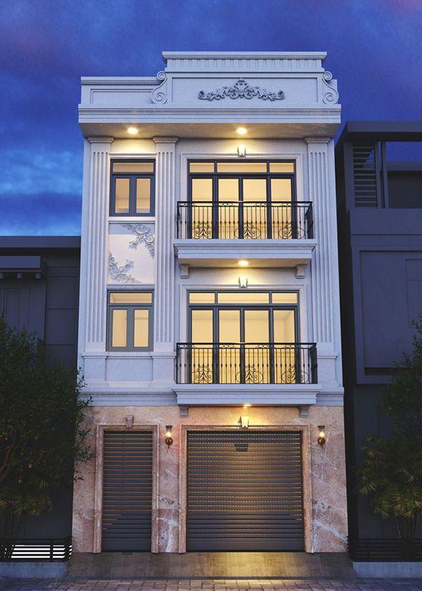 Mẫu nhà phố tân cổ điển 3 tầng mặt tiền 6m