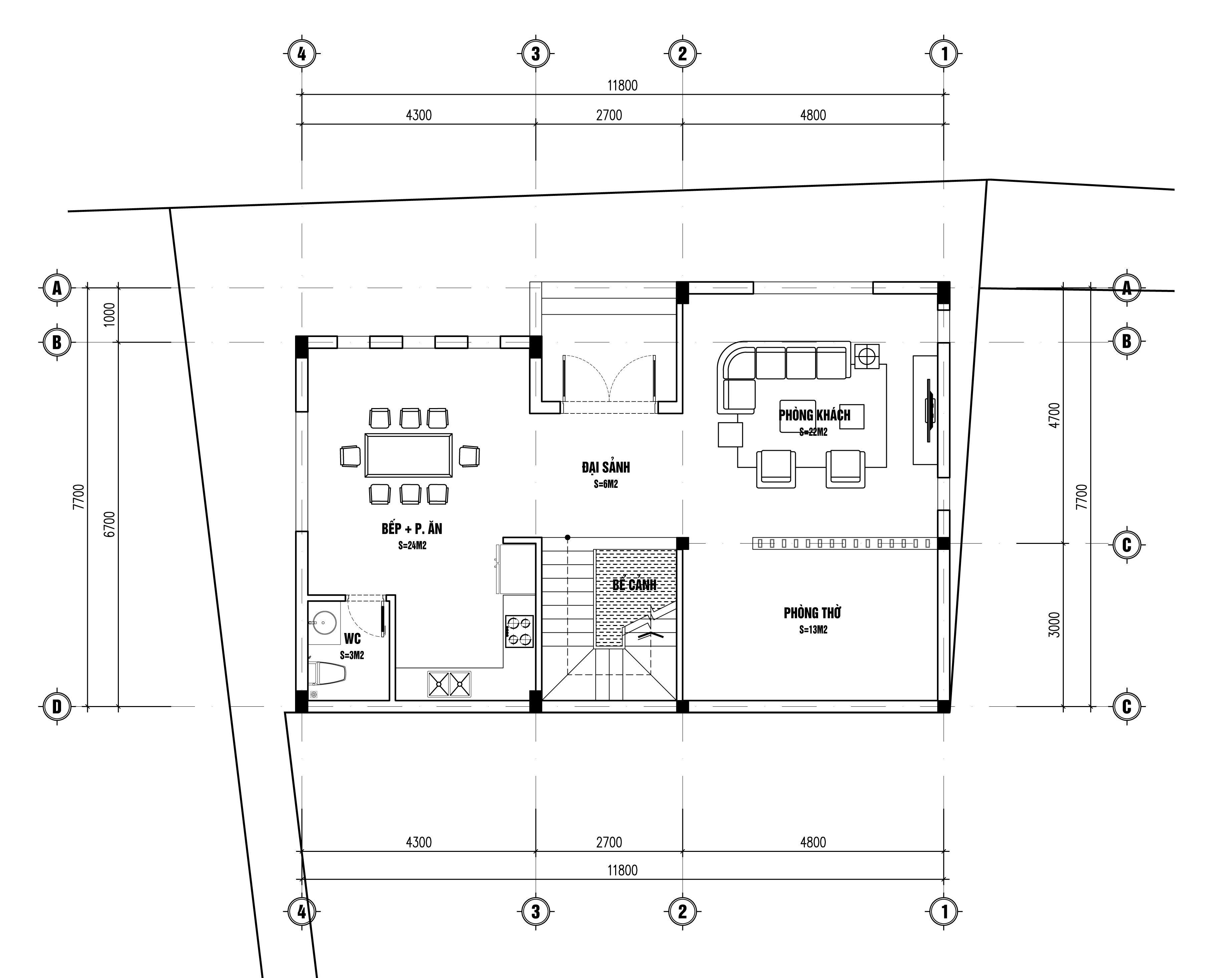 Bản vẽ mặt bằng biệt thự hiện đại 3 tầng