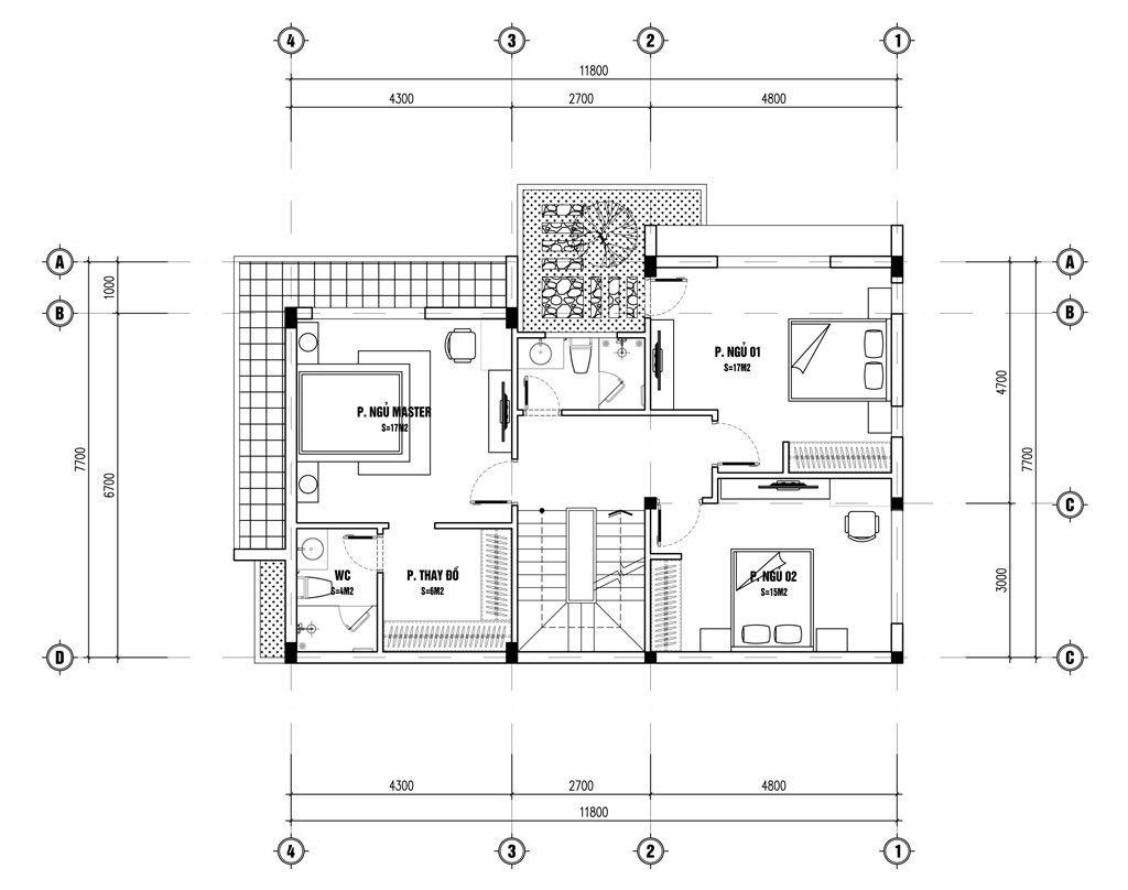 Mặt bằng tầng 2 biệt thự phố hiện đại