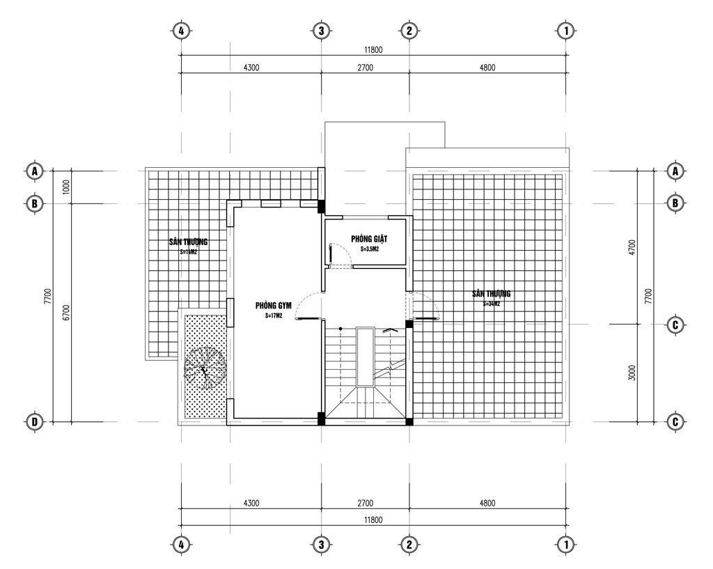 Mặt bằng tầng 3 biệt thự 3 tầng 2 mặt tiền hiện đại