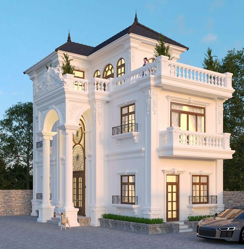 Mẫu nhà biệt thự 3 tầng mái thái đẹp