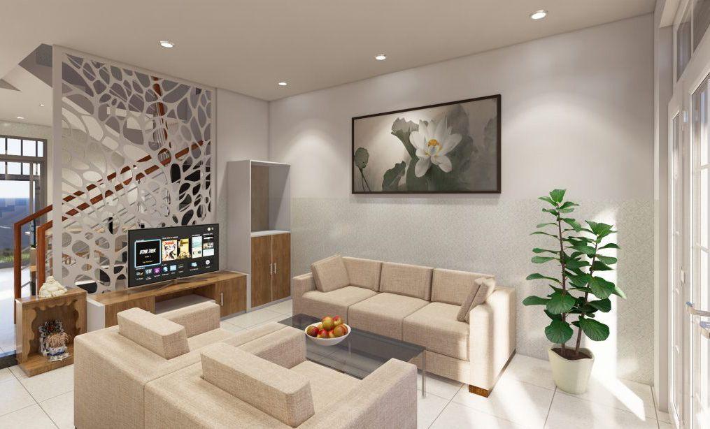 Mẫu thiết kế nội thất phòng khách hiện đại ấm cúng
