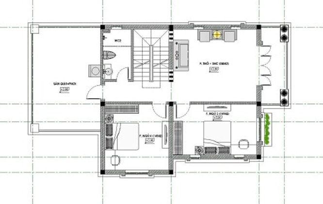Bản vẽ mặt bằng nhà phố 2 tầng 1 tum tầng 2