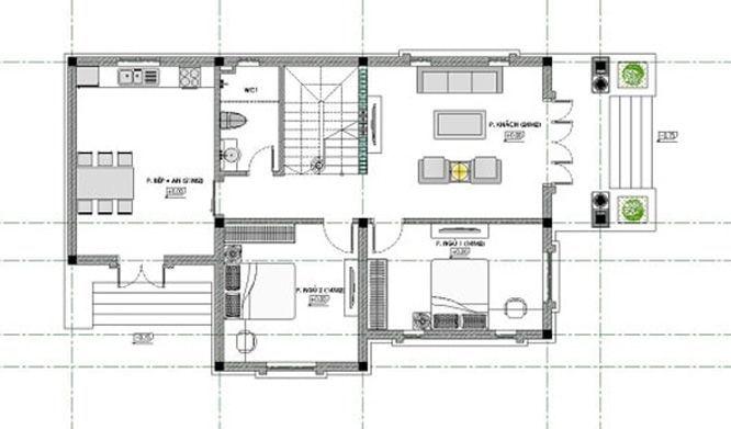 Bản vẽ mặt bằng nhà phố 2 tầng 1 tum tầng 1