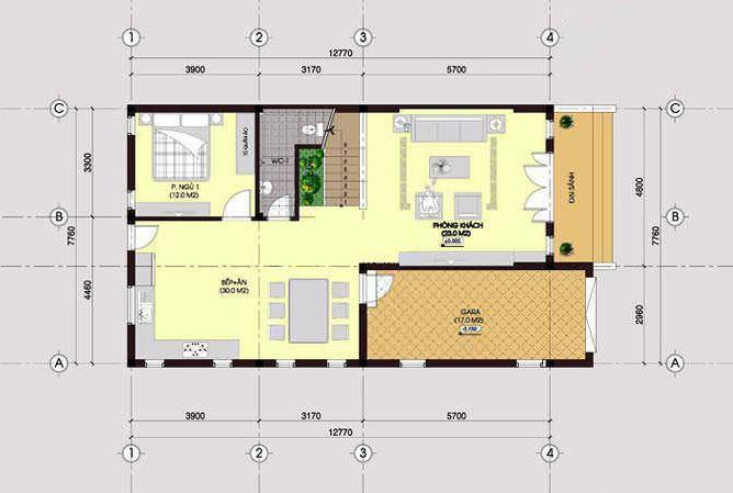 Mặt bằng nhà 2 tầng 1 tum tầng 1