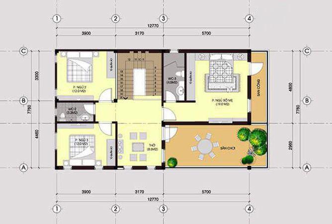 Mặt bằng nhà 2 tầng 1 tum tầng 2
