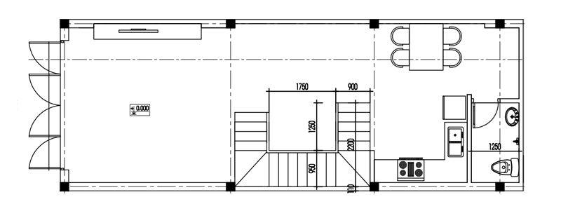 Mặt bằng tầng 1 nhà 4 tầng xây trọn gói