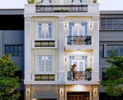 Thiết kế nhà mặt tiền 8m sâu 10m tân cổ điển
