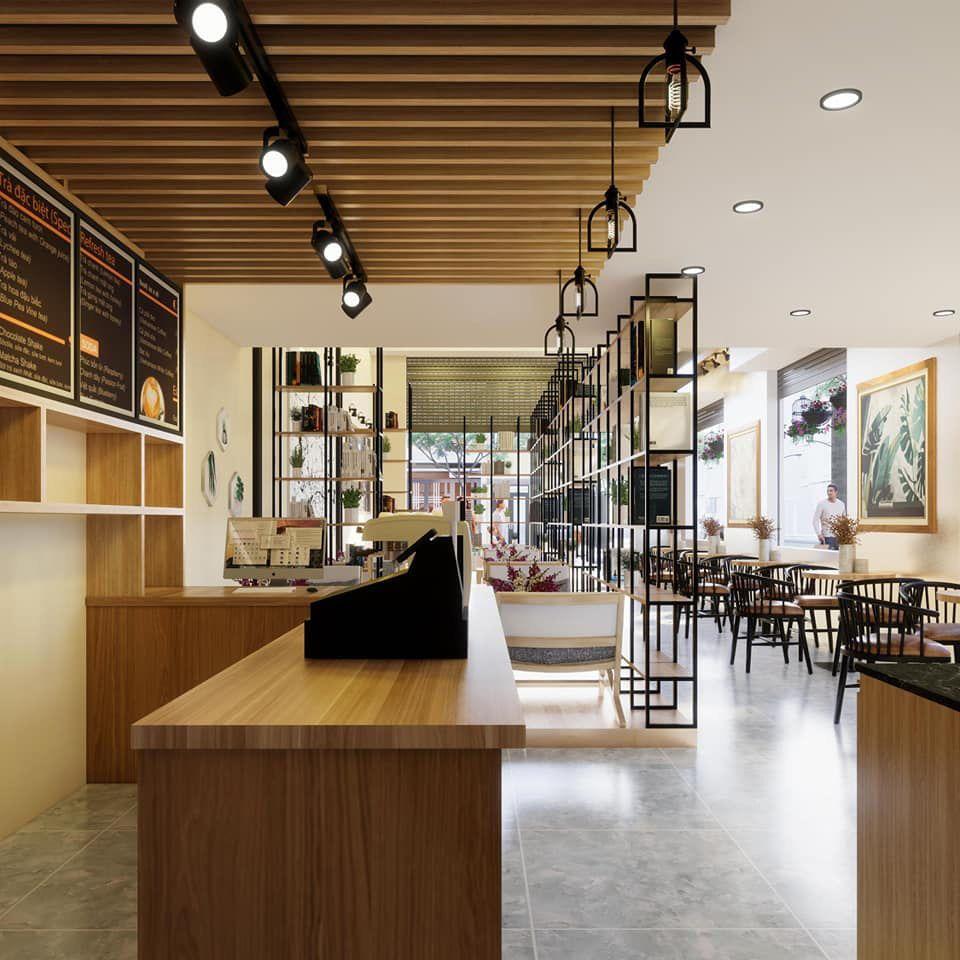 Thiết kế quán cafe góc 2 mặt tiền